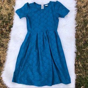 Lularoe Amelia dress large blue embossed pockets